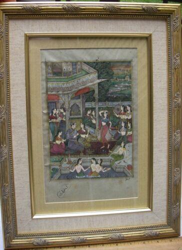 Fine Old Indian MUGHAL Miniature Style Painting on Paper-HAREM SCENE-Framed-NR!