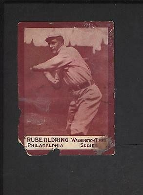 1910 Washington Times Series Newspaper Baseball Card Rube Oldring Philadelphia