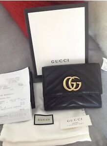Authentic Gucci Marmont Matelasse Black Leather Wallet