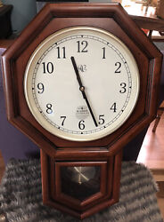School House Regulator Style Atomic Wall Clock By River City. New Open Box Stock
