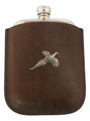 Pheasant Pewter 4oz Kidney Traditional Hip Flask In Leather Pouch FREE ENGRAVING
