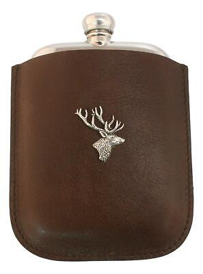 Stag Head Pewter 4oz Traditional Hip Flask In Leather Pouch FREE ENGRAVING