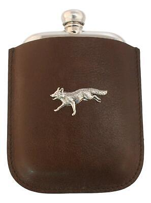 Fox Running Pewter 4oz Traditional Hip Flask In Leather Pouch FREE ENGRAVING 142