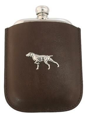 Pointer Dog Pewter 4oz Traditional Hip Flask In Leather Pouch FREE ENGRAVING 282