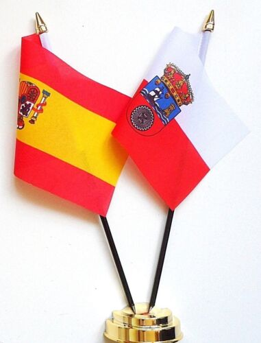 Spain State & Spain Cantabria Double Friendship Table Flag Set