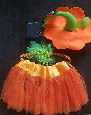 Baby Halloween Pumpkin Costume Infant 0-3 Mos 3pc Set Tutu  Headband + Hat Photo - Baby Halloween Photos