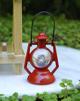 Miniature Dollhouse FAIRY GARDEN Accessories ~ Red Metal Lantern ~ NEW