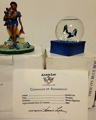 Annie Lee Passion Figurine, COA & Snow Globe Set - plus-plastic shoehorn