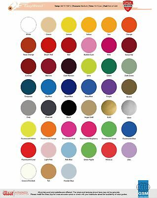 Heat Transfer Vinyl Siser Easyweed 15 X 1 Foot - 41 Color Choices. Reg Colors