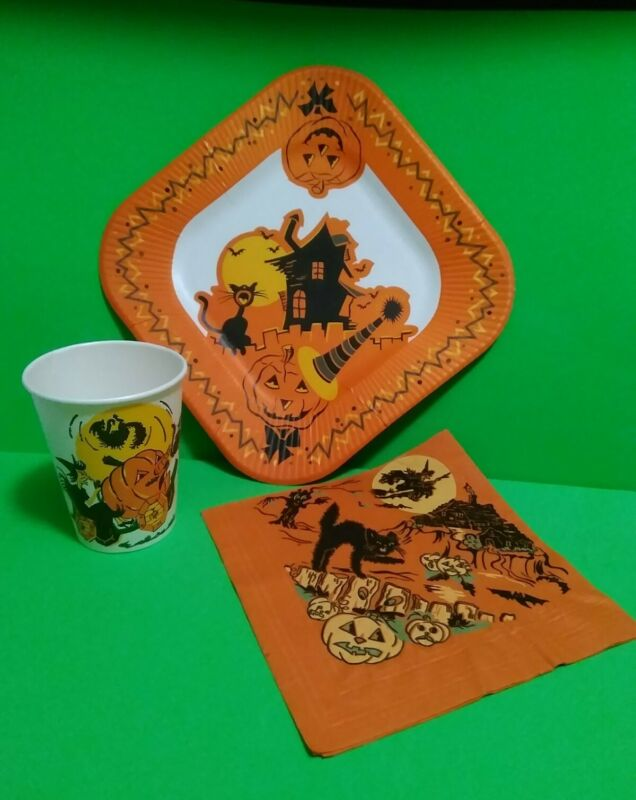 Vintage Halloween Plate Napkin Cup RARE Witch Jack-o-lantern Party Decorations🎃