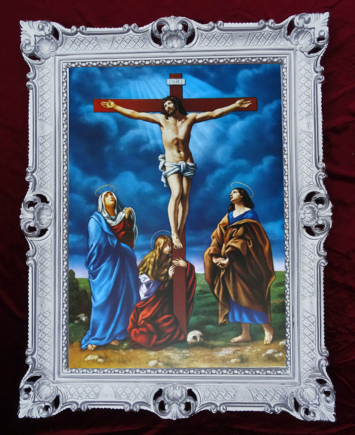 Heiligenbild mit Rahmen GEMÄLDE Kruzifix INRI JESUS AM KREUZ ANTIK ...