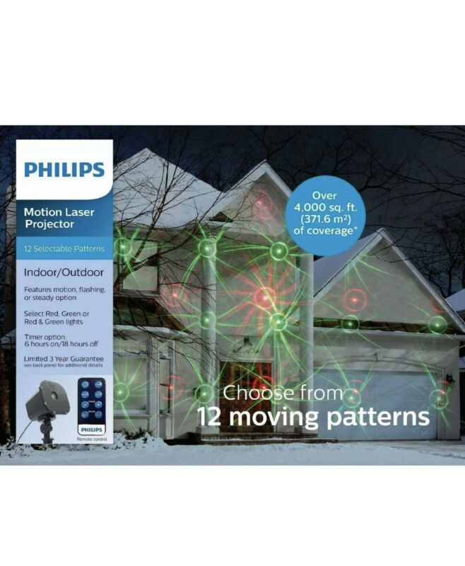 Philips Christmas Holiday Light Projector 12 Moving Motion Patterns + Remote