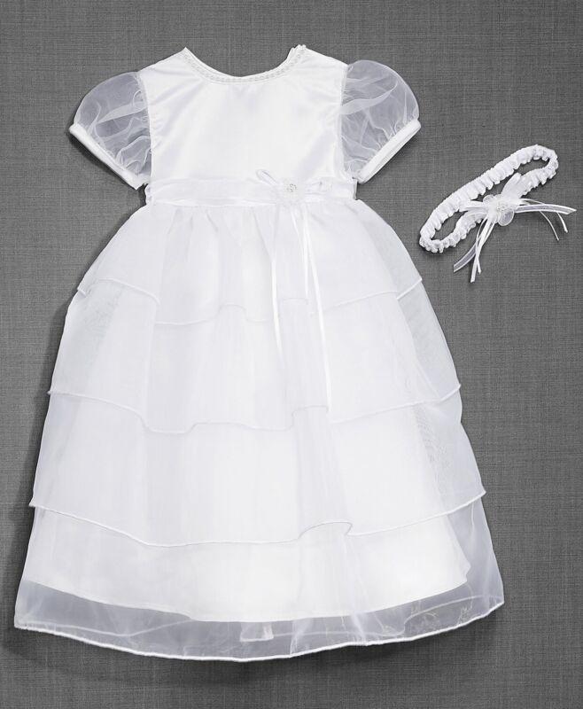 Lauren Madison Baby Girls Headband And Dress Christening Set Size 6-9 Month