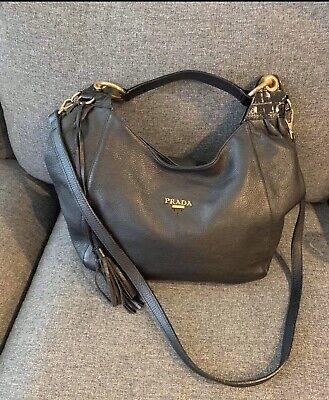 Authentic PRADA Black Leather Hobo Handbag With Strap