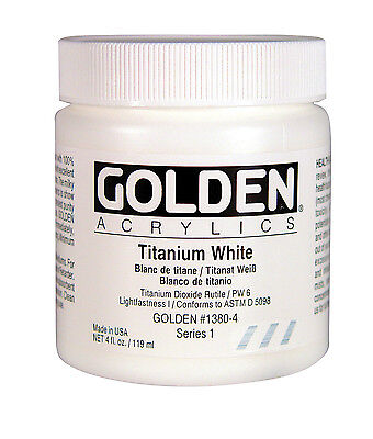 GOLDEN ARTIST COLORS 0001380-4 GOLDEN HEAVY BODY ACRYLIC 4 OZ. TITANIUM WHITE