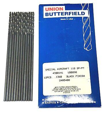 Aircraft Drill Bit - Union Butterfield No.29 Drill Bit Aircraft Extension Drills HSS 12 Pack USA Made