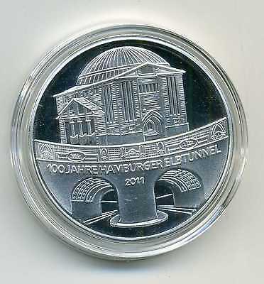 Medaille zu den Deutschen 10 Euro Münzen Elbtunnel Hamburg 2011 versilbert M_133