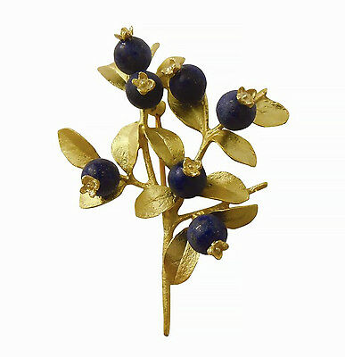 Blueberry Brooch Pin in Gold Plate by Michael Michaud #5666BZG