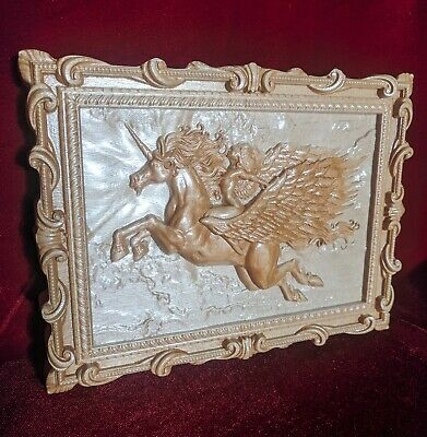 """Epic Wooden Carved Picture of Unicorn 10"""" size."""