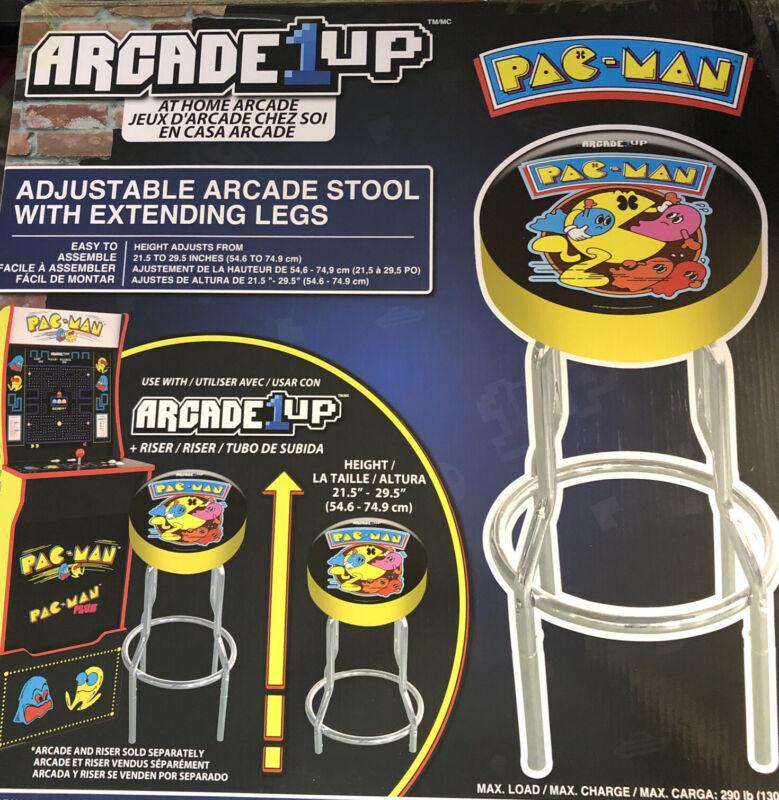 Arcade1UP PAC-MAN (PacMan) Adjustable Stool w/Chrome Legs - NEW IN BOX