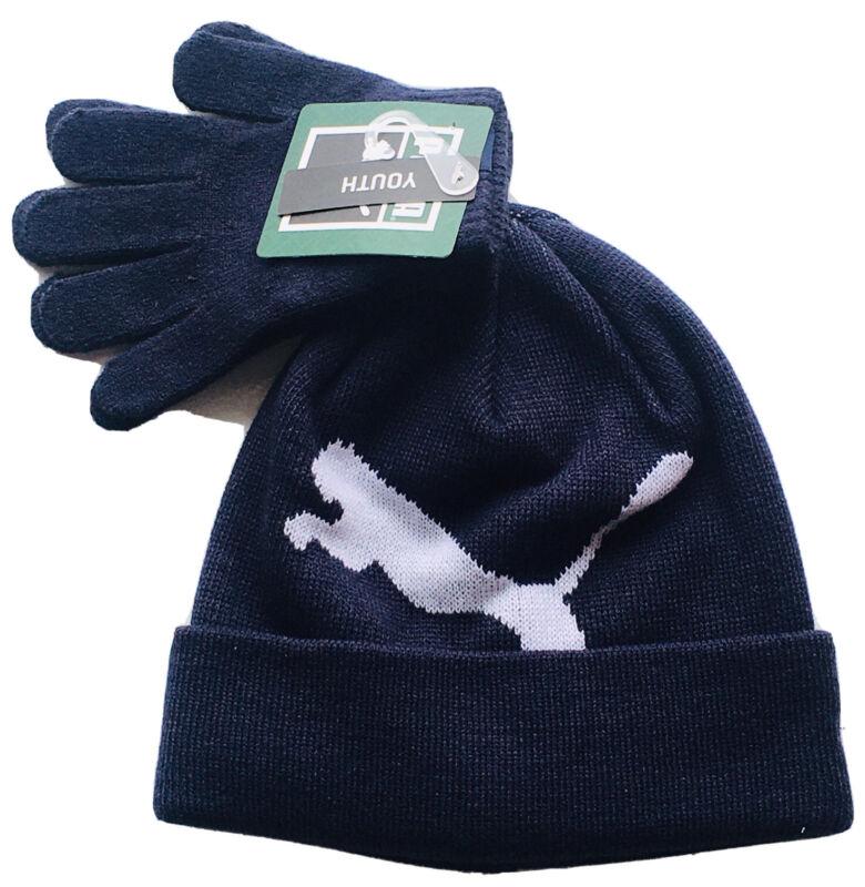 Puma Beanie Hat & Gloves Youth Boys Girls Navy Blue OS Set Of 2