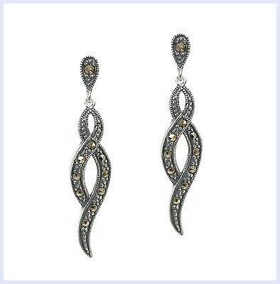 Sterling Silver Marcasite Infinity Love Twist Ribbon Flower Dangle Stud Earring