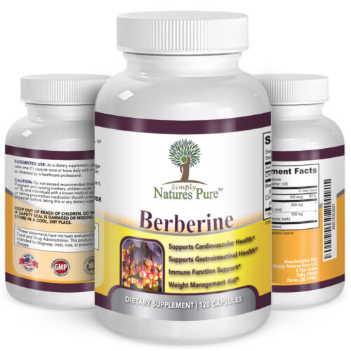 Berberine HCl 500mg Premium - 120 capsules - 2 Month Supply