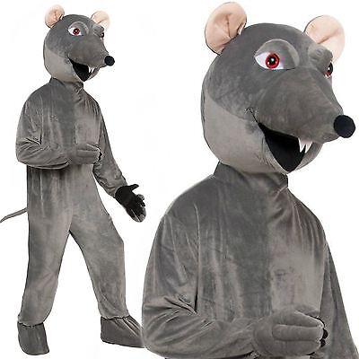 Adult Grey Big Head Rat Mascot Fancy Dress Costume Animal Rodent Halloween - Halloween Rat Costume
