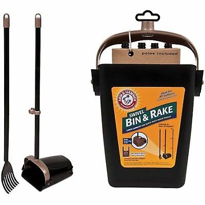 DOG POOPER SCOOPER Swivel Bin and Rake Handle Pet Waste Clean Pick Up Shovel