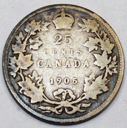 1905 Canada / Canadian Twenty-Five Cent Quarter - VG Very Good Condition