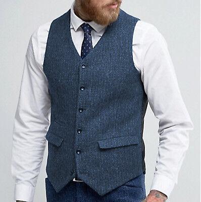 5-button Weste (Mens 5 Button Harris Check Wool Tweed Slim Fit Vest Waistcoat Blue S-3XL)