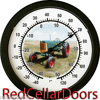 "New Vintage Oliver Model 88 Green Tractor 14"" Round Wall Thermometer New"