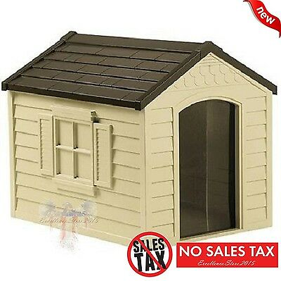 Durable Resin All Weather Extra Large Suncast Pet Dog House Home Outdoor Cage