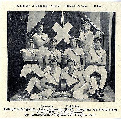 Schweizerturnverein Paris beim intern.Turnfest Calais Historische Aufnahme 1907