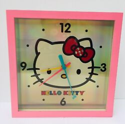 """2013 Sanrio Hello Kitty Battery Operated Wall Clock 11""""x 11""""Pink Silver Wood"""