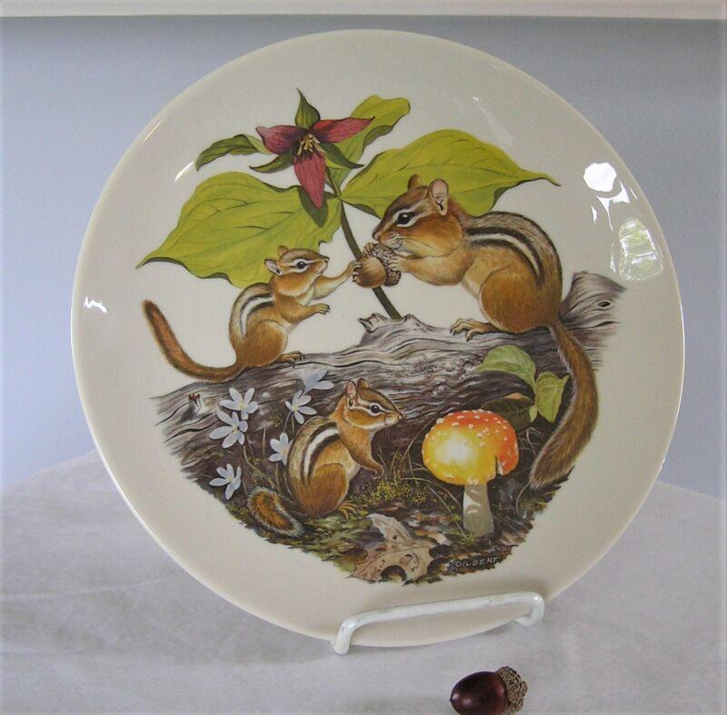 Fall/Autumn decorative plate Chipmunks and Trillium 1977 Halbert's Signed MINT