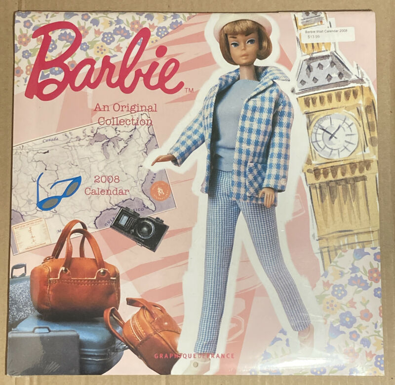 2008 Sealed Vintage Barbie Wall Calendar 12 inches Mint unopened sealed