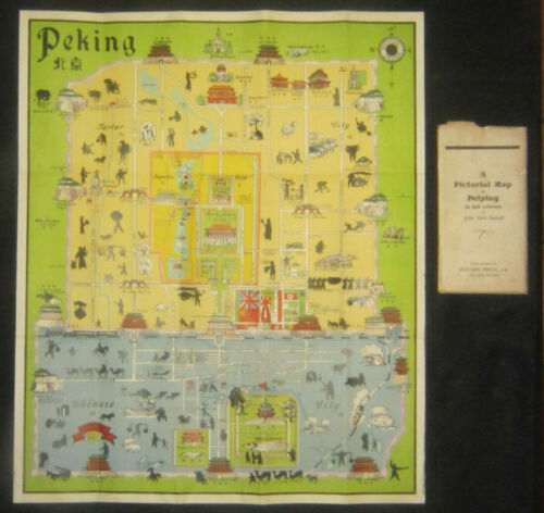 VINTAGE PICTORIAL MAP OF PEKING (PEIPING) by JOHN KIRK SEWALL c 1938 - 1945