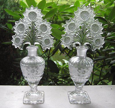 Huge Pair Deco Vintage Imperial glass perfume bottle w/foliate sunflower stopper