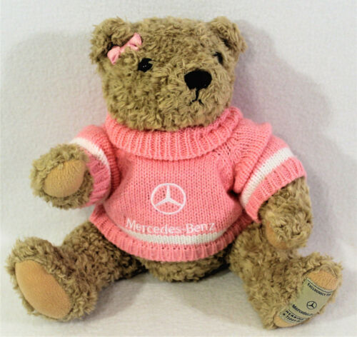 "Herrington MERCEDES-BENZ TEDDY BEAR Tan Jointed PINK Sweater Bow 14"" Plush 2013"