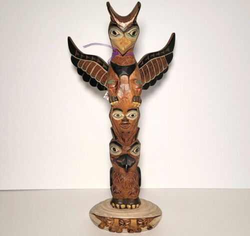 "Alaska Black Diamond Totem Pole By Ray Moore ""The Legend of Mankind"" FREE SHIP"