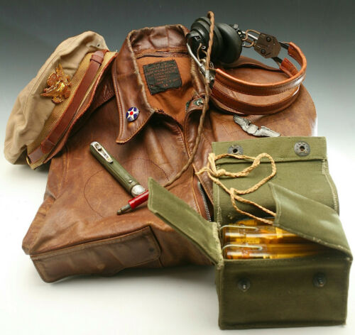 WWII US ARMY PILOT A2 JACKET SURVIVAL KIT HEADPHONES STERLING WINGS CRUSHER CAP