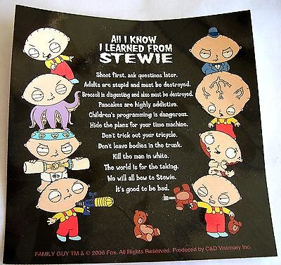 Family Guy Stewie sticker  Licensed All I know I Learned from Stewie