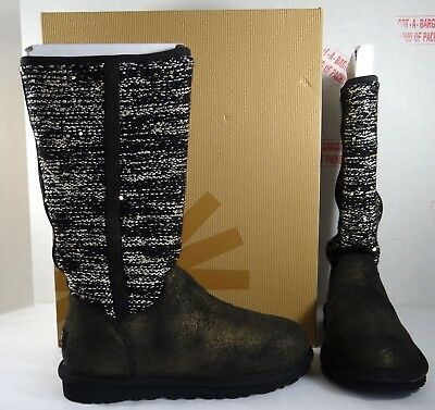 UGG Australia Camaya Knit Suede Black Sequin Tall Boots 5-9 $228 (Black Sequin Booties)