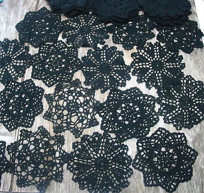 """12 psc Hand Crochet Doilies 5""""-5.5""""  Black  Vintage Lace Party Craft Motifs"""