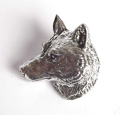"""WOLF HEAD """"Birds,Animals Nature"""" Hand Made in UK Pewter Lapel Pin Badge"""