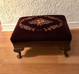 Vintage foot stool with wine coloured needlepoint upholstery