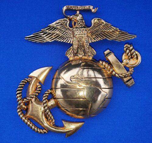 "U.S. MARINE CORPS Metal Plaque Emblem GOLD COLOR 4""x4"" USMC MILITARY"