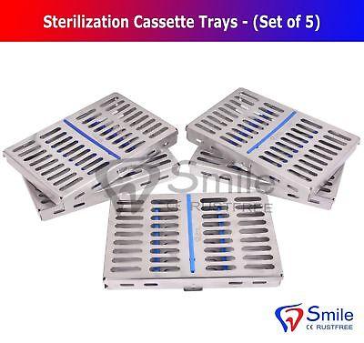 5x Sterilization Cassette Rack Tray Hold 10 Dental Surgical Instrument Autoclave