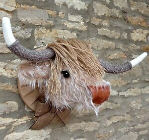 Handmade faux taxidermy caramel & cream fur highland cow wall mount animal head